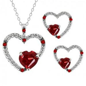 2.10 Ct Heart Shape Red Garnet Gemstone 14k White Gold Pendant Earrings Set