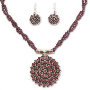 Floral Sterling Silver Beaded Garnet Jewelry Set