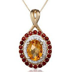 14k Yellow Gold Citrine, Garnet and Diamond Pendant Necklace