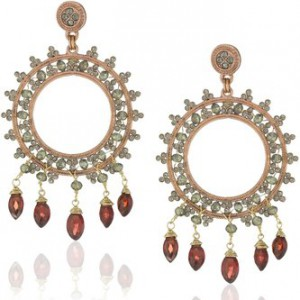 """Romantic"" Rouge Garnet Earrings Rose gold plated with crystals"