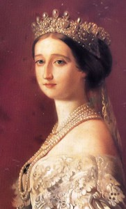 Empress Eugenie wearing the Pearl and Diamond Tiara and the six-stranded pearl necklace