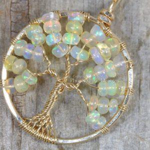 Opal Tree of Life Birthstone Pendant